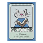 Welcome Cat Reading Poster