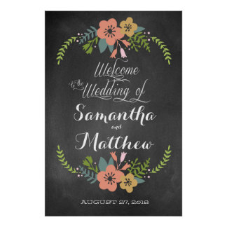 """Welcome """"Chalkboard"""" Wedding Sign Poster 32x48"""