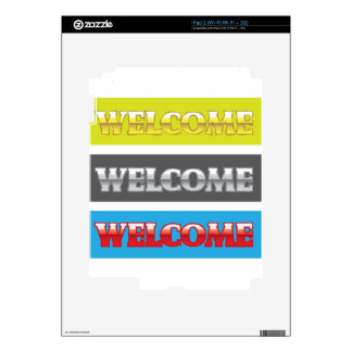 Welcome Chrome Words Skins For iPad 2