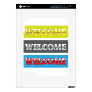 Welcome Chrome Words Skins For iPad 3