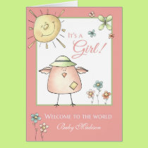 Welcome Daughter - Custom Name Baby Congratulation Card
