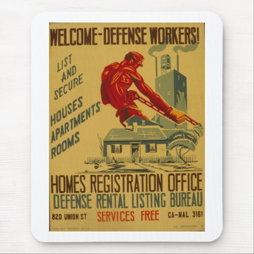 Welcome Defense Workers Advertisement Poster 1941 Mousepad