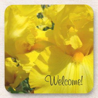 Welcome! drink coaster Yellow Iris Flowers Floral