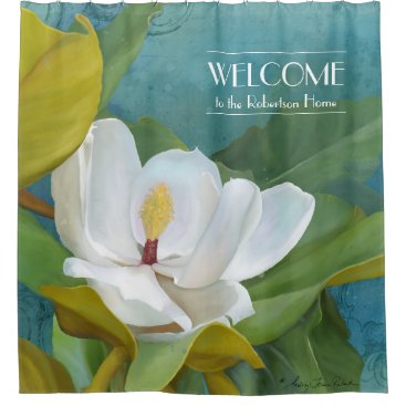 Beach Themed Welcome Family Name Magnolia Painted Elegant Bath Shower Curtain