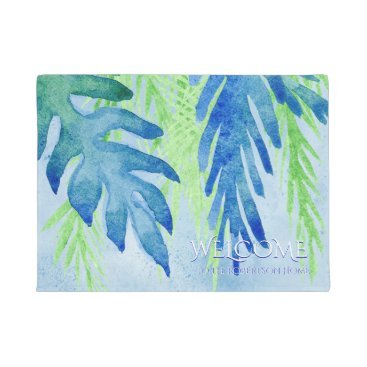 Beach Themed Welcome Family Name Modern Tropical Leaf Leaves Doormat