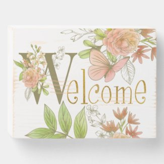 Welcome Flowers Wood Box Sign