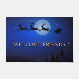 Welcome Friends Beautiful Christmas Doormat