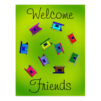 Welcome Friends Gypsy Wagons Spiral Postcard