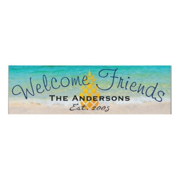 Beach Themed Welcome Friends Pineapple Beach Family Name Panel Wall Art