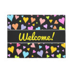 "[ Thumbnail: ""Welcome!"" + Fun, Loving, Colorful Hearts Pattern Doormat ]"