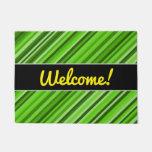 "[ Thumbnail: ""Welcome!"" + Green Lines/Stripes Pattern Door Mat ]"