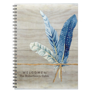Welcome Guest Book Cabin Decor Wood Board Feather Spiral Notebook