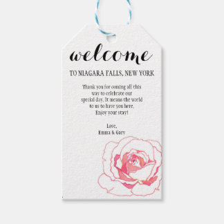 Welcome Guest Wedding Rose Flower Gift Tags
