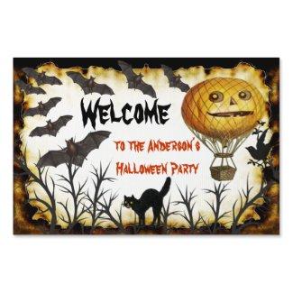 Welcome Halloween Party Sign Bats Pumpkin Cat Tree