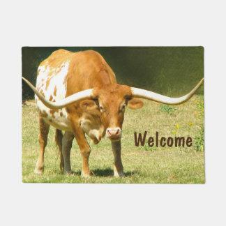 Welcome Handsome Texas Longhorn Doormat