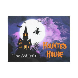 Welcome Happy Halloween with Scary Haunted House Doormat