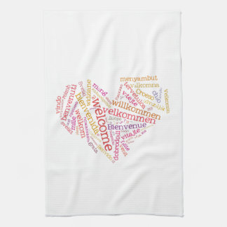 Welcome Heart (many languages) Kitchen Towels