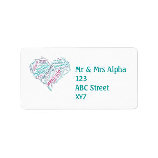 Welcome Heart (many languages) Label Address Label