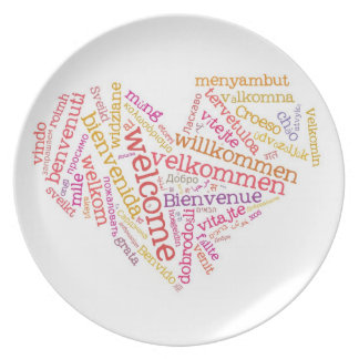 Welcome Heart (many languages) Melamine Plate