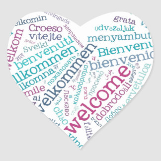 Welcome Heart (many languages) Sticker