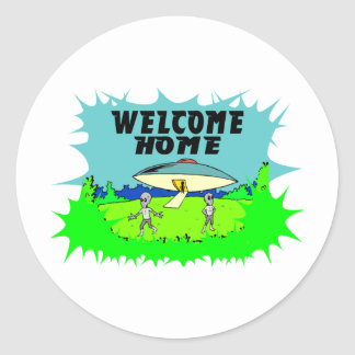 Welcome Home Aliens Classic Round Sticker