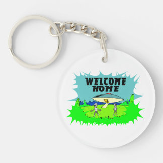 Welcome Home Aliens Double-Sided Round Acrylic Keychain