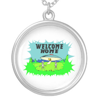 Welcome Home Aliens Silver Plated Necklace