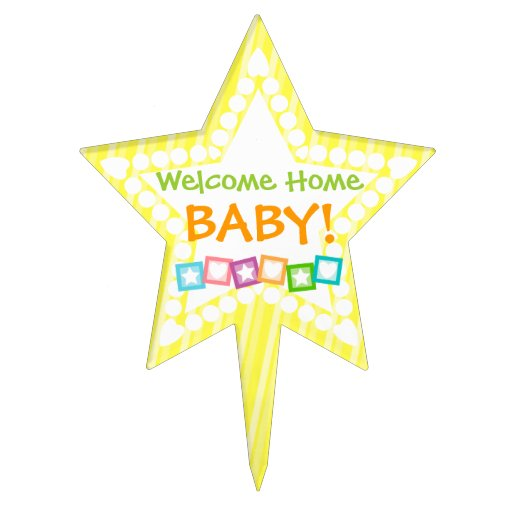 Welcome Home Baby! Custom Yellow Cake Topper