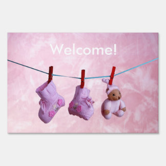 Welcome home baby girl yard flag sign