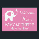 "WELCOME HOME baby shower yard sign with elephant<br><div class=""desc"">WELCOME HOME baby shower yard sign with cute elephant and love hearts. Elegant signage for new baby and mom. Customizable color for girl or boy. Change the background to pink, blue or other color. Stylish typography template for front lawn welcoming back mother from hospital. Little animal design. Stick it in...</div>"