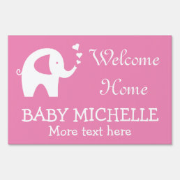 WELCOME HOME baby shower yard sign with elephant