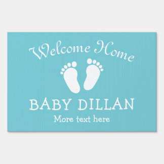 WELCOME HOME baby shower yard sign with footprints