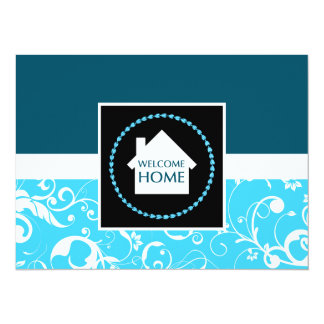 welcome home blue damask card