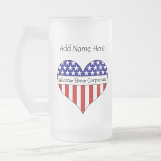 Welcome Home Corpsman! Frosted Glass Beer Mug