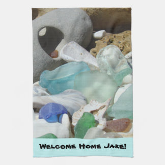 Welcome Home custom Personalize Towel Seaglass