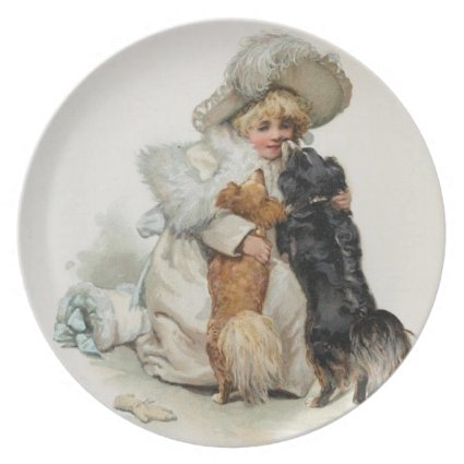 Welcome Home Cute Vintage Terrier Dogs Party Plate