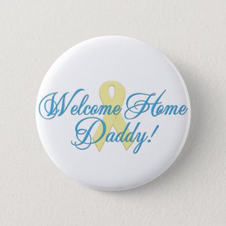 welcome home daddy blue ribbon button