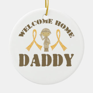 Welcome Home Daddy Double-Sided Ceramic Round Christmas Ornament