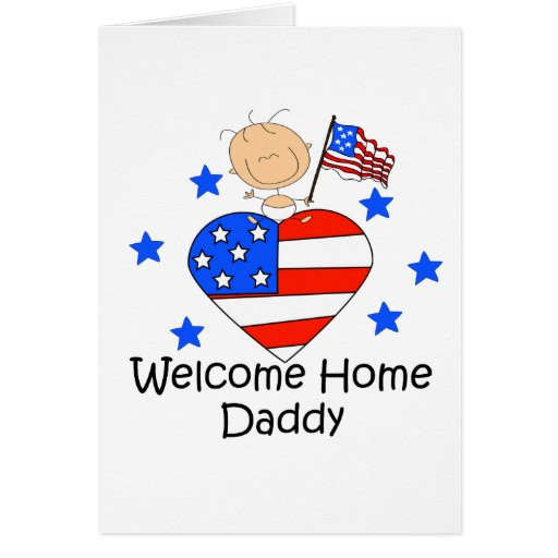 Welcome Home Daddy Stick Figure Baby Cards