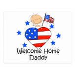 Welcome Home Daddy Stick Figure Baby Postcard