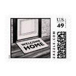 welcome home door mat photograph postage stamps