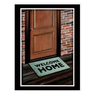welcome home door mat postcard