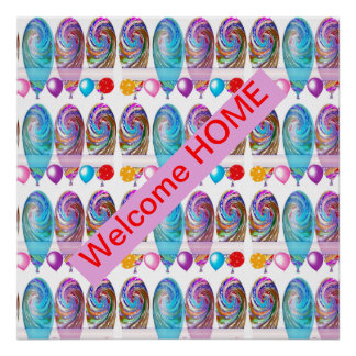 WELCOME HOME  : Editable text CHANGE YR GREETING Poster