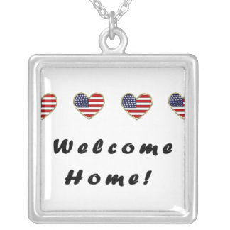 Welcome Home Flags Square Pendant Necklace