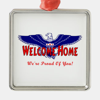 Welcome Home From The Military Square Metal Christmas Ornament
