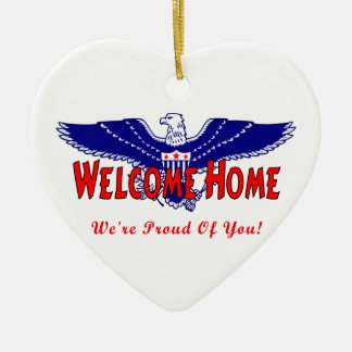 Welcome Home From The Military Double-Sided Heart Ceramic Christmas Ornament