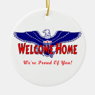 Welcome Home From The Military Double-Sided Ceramic Round Christmas Ornament