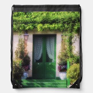 Welcome Home Garden Facade Drawstring Bag