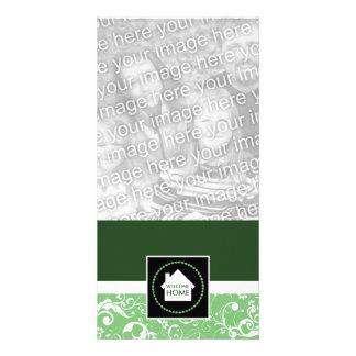 welcome home green damask custom photo card