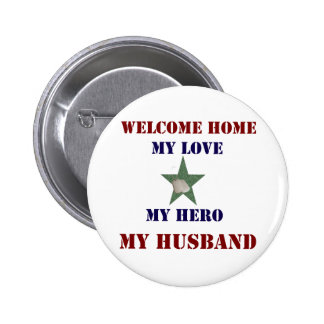 Welcome Home Green Pinback Button